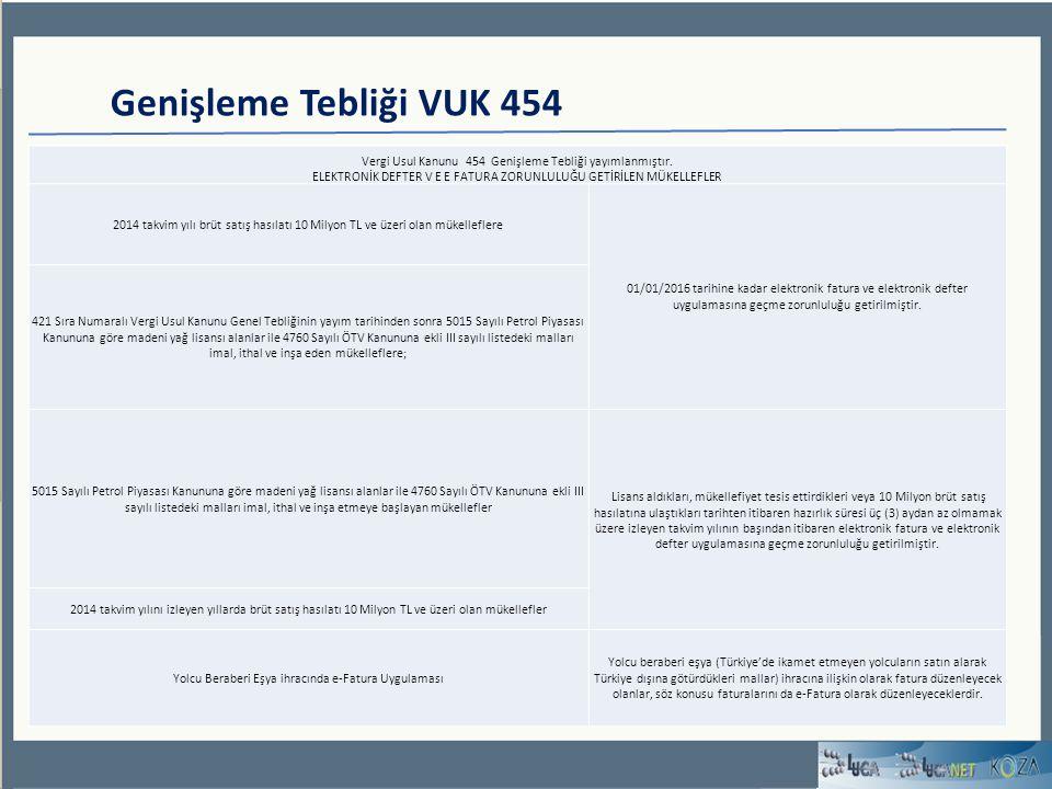 Genişleme Tebliği VUK 454 Vergi Usul Kanunu 454 Genişleme Tebliği yayımlanmıştır.