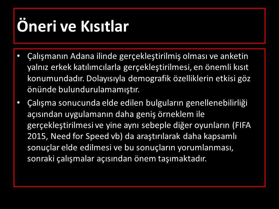 Öneri ve Kısıtlar Çalışmanın Adana ilinde gerçekleştirilmiş olması ve anketin yalnız erkek katılımcılarla gerçekleştirilmesi, en önemli kısıt konumundadır.