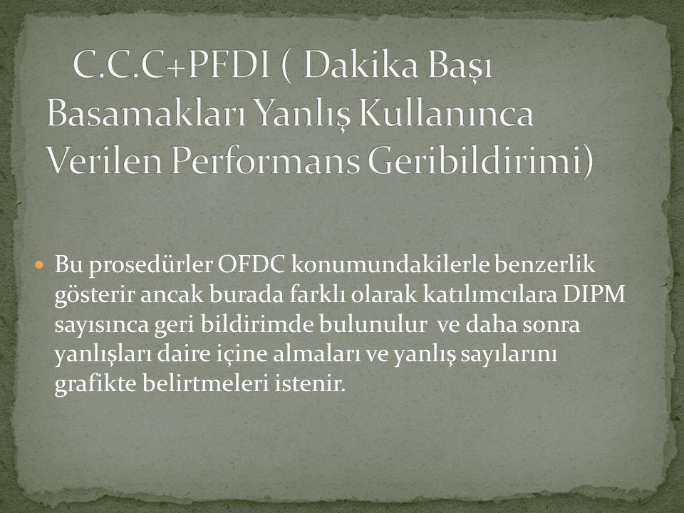 Bu prosedürler OFDC konumundakilerle benzerlik gösterir ancak burada farklı olarak katılımcılara DIPM sayısınca geri bildirimde bulunulur ve daha sonra yanlışları daire içine almaları ve yanlış sayılarını grafikte belirtmeleri istenir.