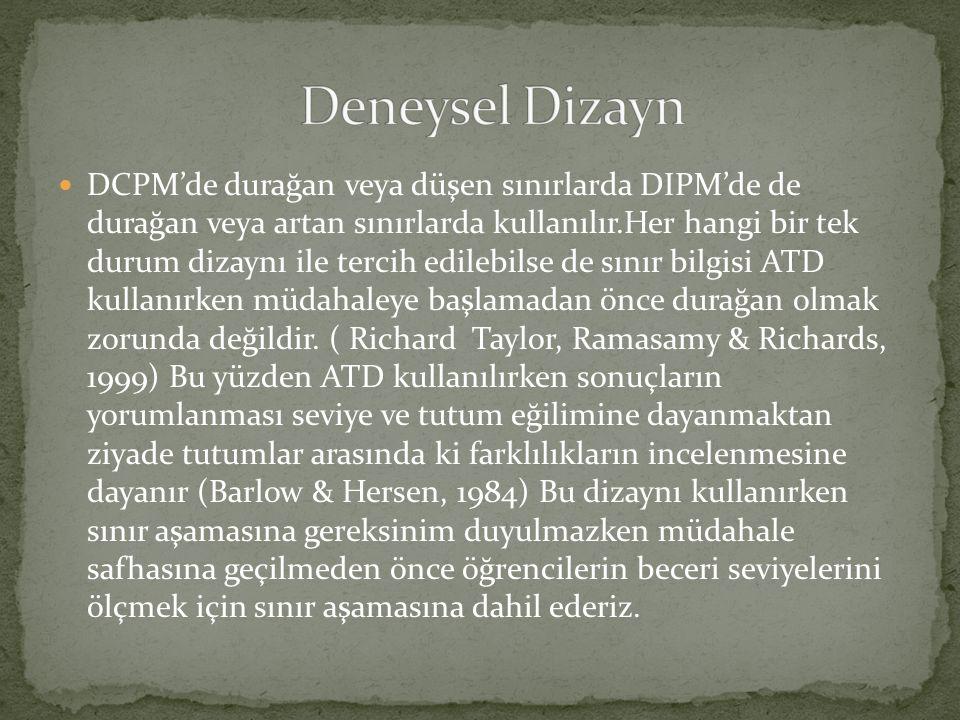 DCPM'de durağan veya düşen sınırlarda DIPM'de de durağan veya artan sınırlarda kullanılır.Her hangi bir tek durum dizaynı ile tercih edilebilse de sınır bilgisi ATD kullanırken müdahaleye başlamadan önce durağan olmak zorunda değildir.