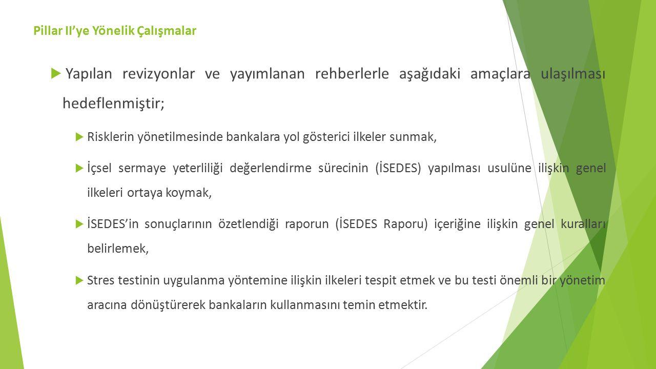  Yapılan revizyonlar ve yayımlanan rehberlerle aşağıdaki amaçlara ulaşılması hedeflenmiştir;  Risklerin yönetilmesinde bankalara yol gösterici ilkeler sunmak,  İçsel sermaye yeterliliği değerlendirme sürecinin (İSEDES) yapılması usulüne ilişkin genel ilkeleri ortaya koymak,  İSEDES'in sonuçlarının özetlendiği raporun (İSEDES Raporu) içeriğine ilişkin genel kuralları belirlemek,  Stres testinin uygulanma yöntemine ilişkin ilkeleri tespit etmek ve bu testi önemli bir yönetim aracına dönüştürerek bankaların kullanmasını temin etmektir.