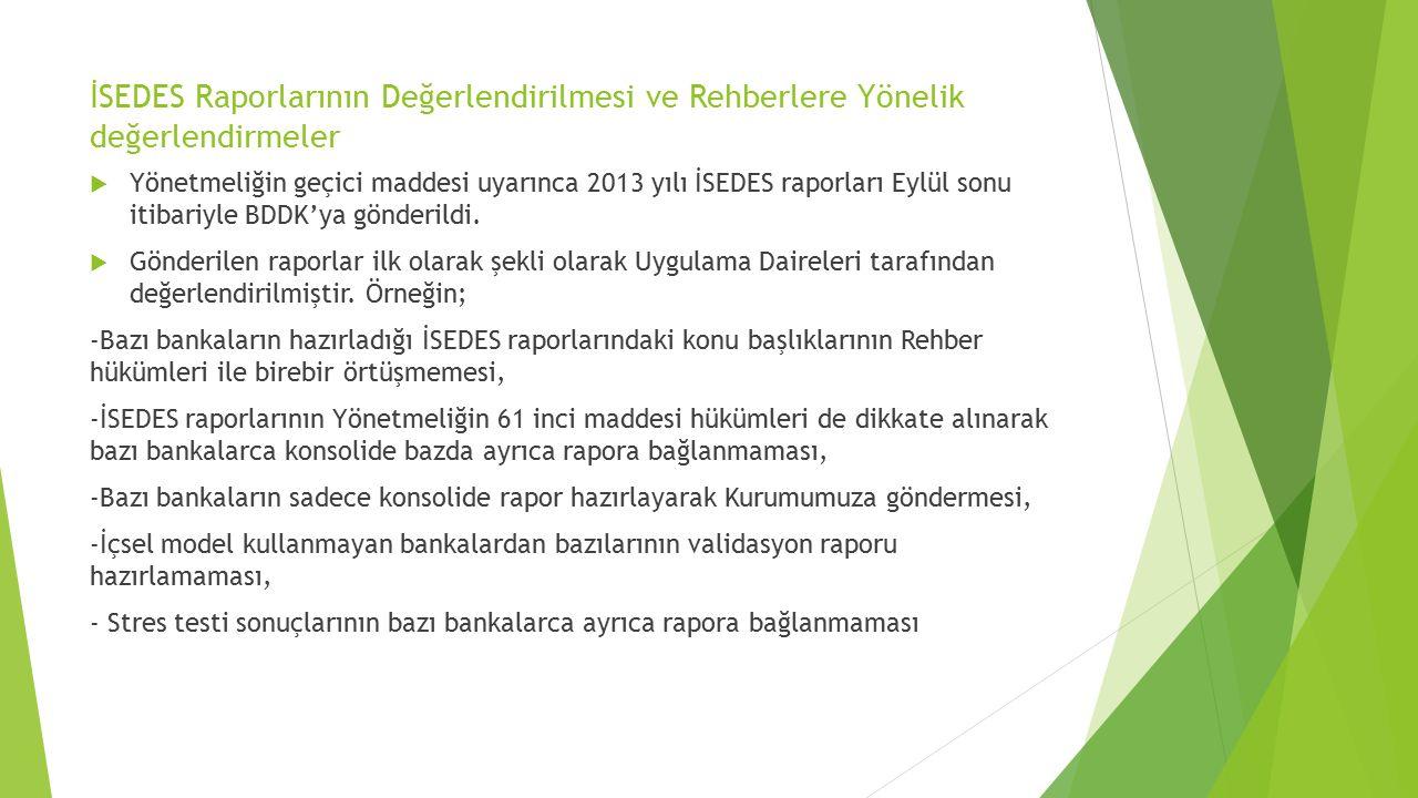 İSEDES Raporlarının Değerlendirilmesi ve Rehberlere Yönelik değerlendirmeler  Yönetmeliğin geçici maddesi uyarınca 2013 yılı İSEDES raporları Eylül s