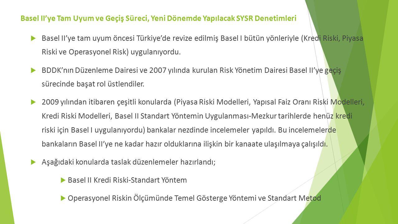  Basel II'ye tam uyum öncesi Türkiye'de revize edilmiş Basel I bütün yönleriyle (Kredi Riski, Piyasa Riski ve Operasyonel Risk) uygulanıyordu.  BDDK