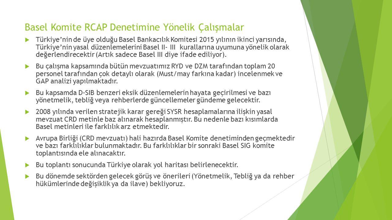 Basel Komite RCAP Denetimine Yönelik Çalışmalar  Türkiye'nin de üye olduğu Basel Bankacılık Komitesi 2015 yılının ikinci yarısında, Türkiye'nin yasal düzenlemelerini Basel II- III kurallarına uyumuna yönelik olarak değerlendirecektir (Artık sadece Basel III diye ifade ediliyor).