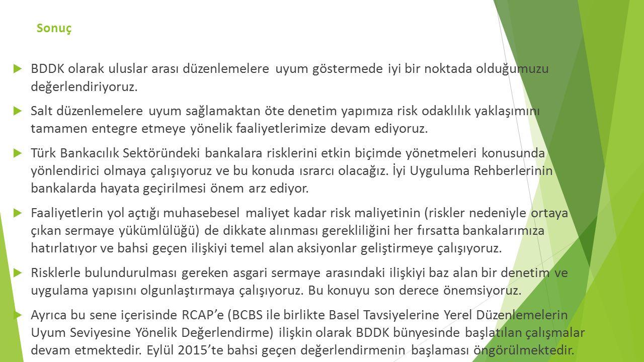 Sonuç  BDDK olarak uluslar arası düzenlemelere uyum göstermede iyi bir noktada olduğumuzu değerlendiriyoruz.