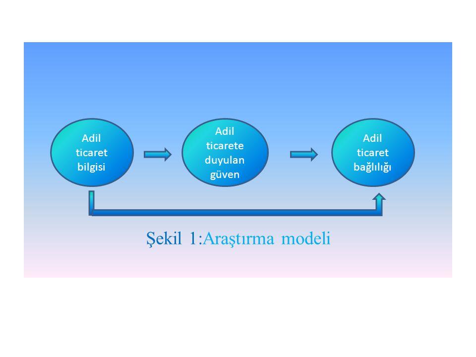 Şekil 1:Araştırma modeli Adil ticaret bilgisi Adil ticarete duyulan güven Adil ticaret bağlılığı