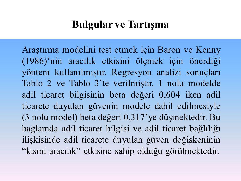 Araştırma modelini test etmek için Baron ve Kenny (1986)'nin aracılık etkisini ölçmek için önerdiği yöntem kullanılmıştır. Regresyon analizi sonuçları