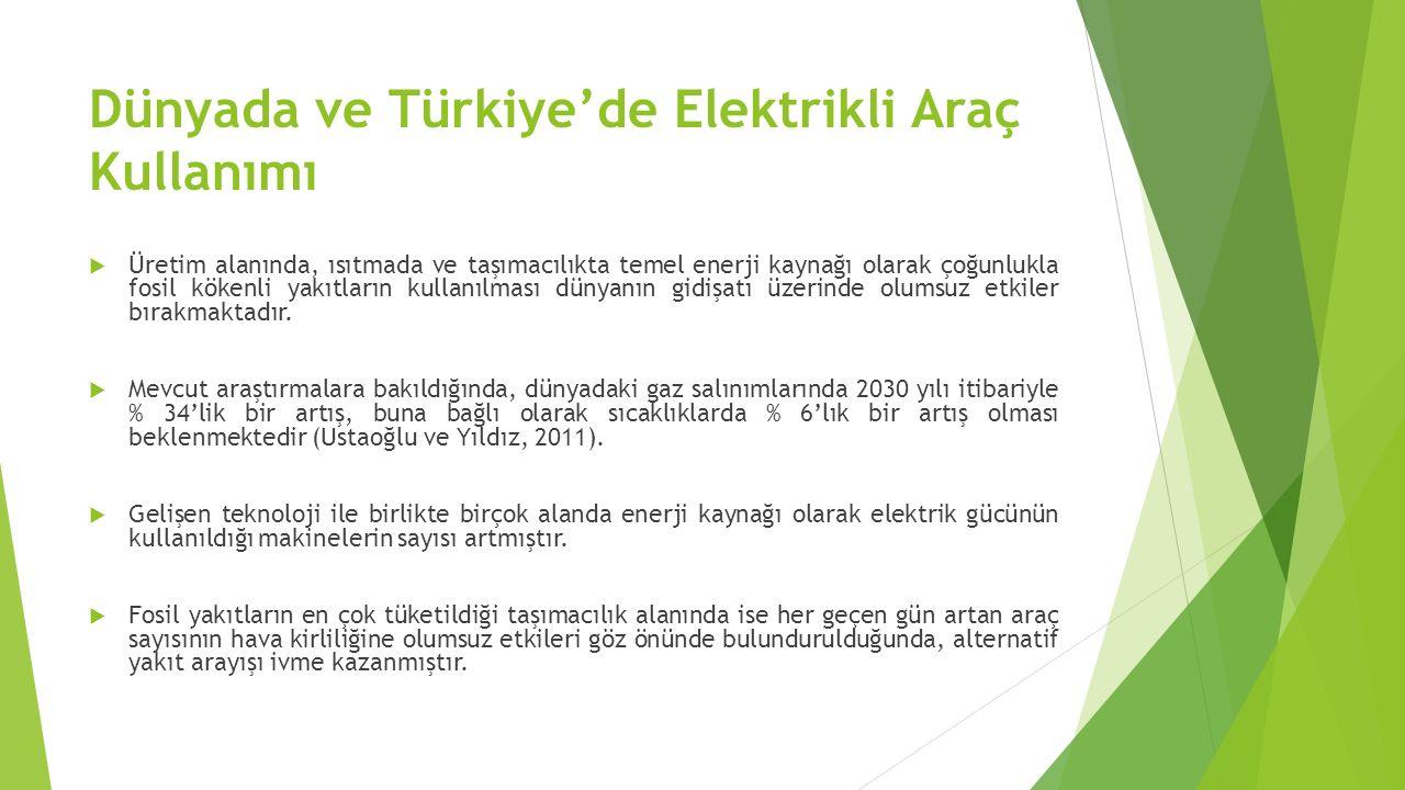Dünyada ve Türkiye'de Elektrikli Araç Kullanımı  Ancak otomobil sektörünün mevcut sistemlerinin farklılığı ve altyapı eksikliklerinin bulunması nedeniyle elektrik araçlara geçme süreci diğer alanlarla olduğu kadar hızla gerçekleşememiştir.