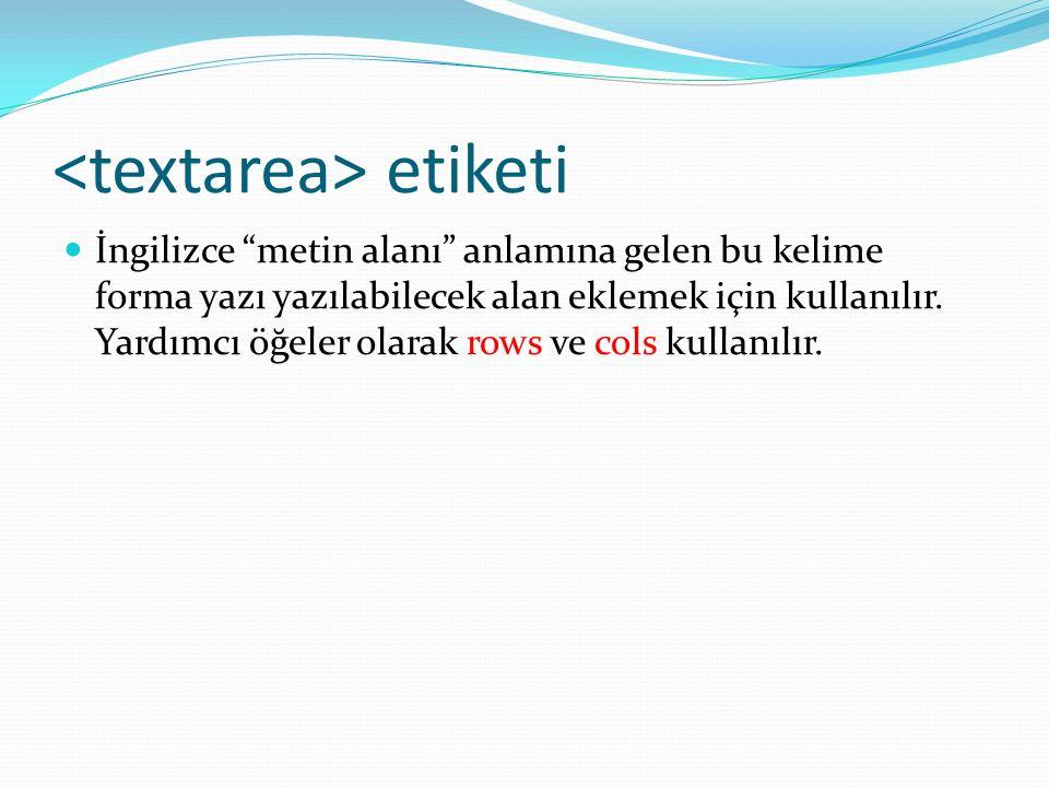 etiketi İngilizce metin alanı anlamına gelen bu kelime forma yazı yazılabilecek alan eklemek için kullanılır.