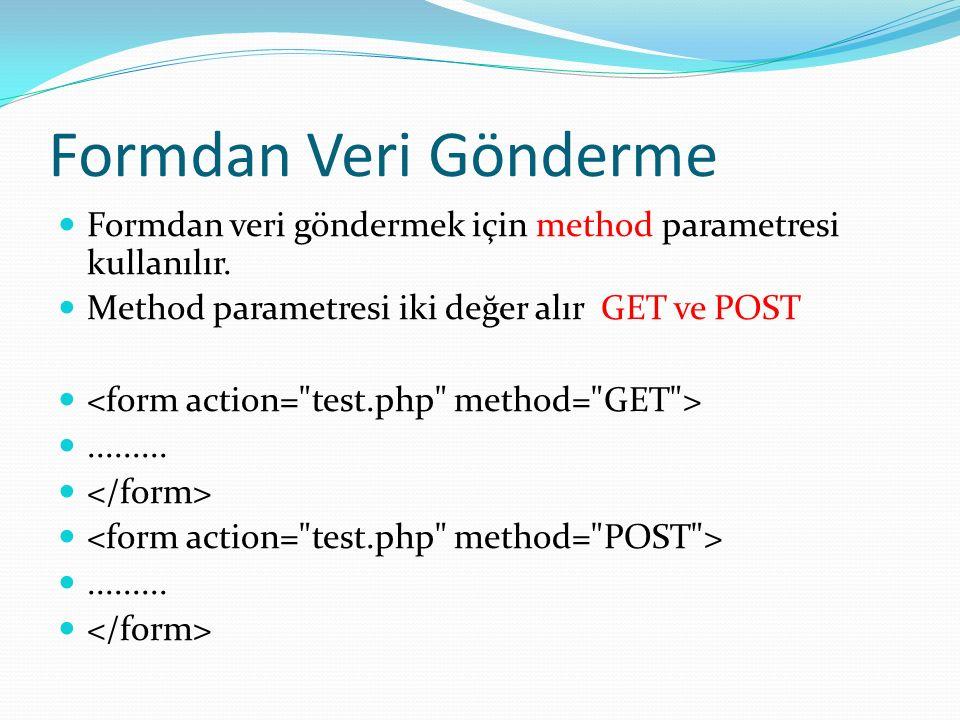 Formdan Veri Gönderme Formdan veri göndermek için method parametresi kullanılır. Method parametresi iki değer alır GET ve POST..................