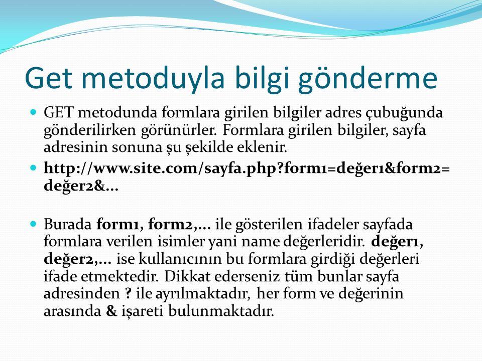 Get metoduyla bilgi gönderme GET metodunda formlara girilen bilgiler adres çubuğunda gönderilirken görünürler. Formlara girilen bilgiler, sayfa adresi