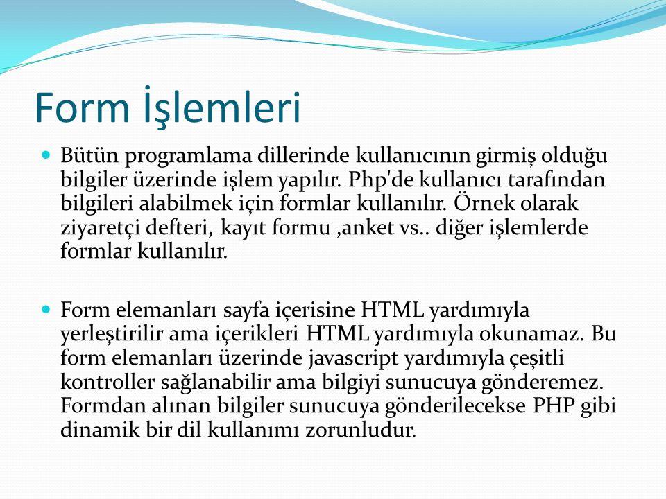 Bütün programlama dillerinde kullanıcının girmiş olduğu bilgiler üzerinde işlem yapılır. Php'de kullanıcı tarafından bilgileri alabilmek için formlar