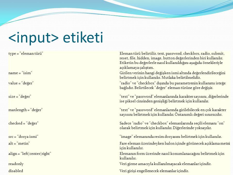 etiketi type = eleman türü Eleman türü belirtilir.
