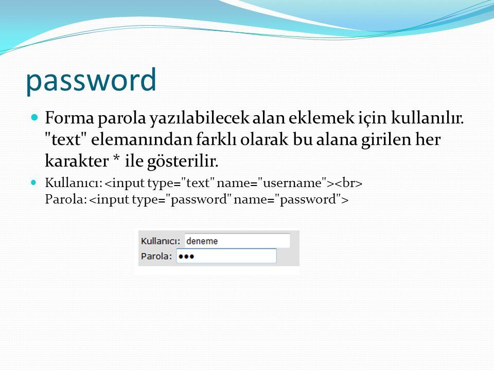 password Forma parola yazılabilecek alan eklemek için kullanılır.
