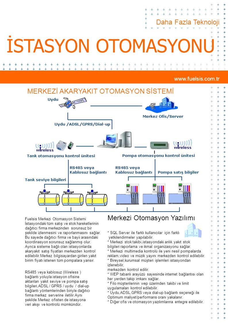 www.fuelsis.com.tr Daha Fazla Teknoloji İSTASYON OTOMASYONU Merkezi Otomasyon Fuelsis Merkezi Otomasyon Sistemi İstasyondaki tüm satış ve stok hareket