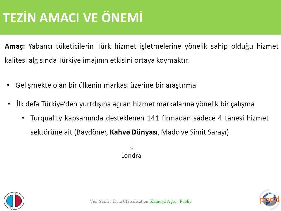 TEZİN AMACI VE ÖNEMİ Veri Sınıfı / Data Classification Kamuya Açık / Public Amaç: Yabancı tüketicilerin Türk hizmet işletmelerine yönelik sahip olduğu