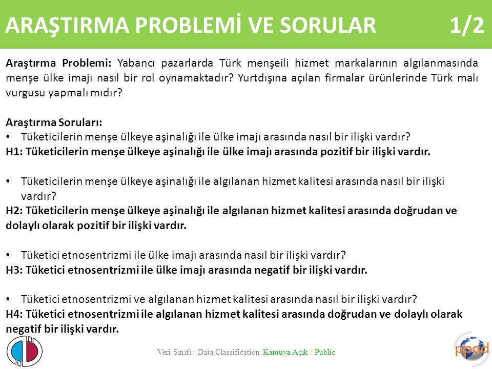 ARAŞTIRMA PROBLEMİ VE SORULAR 1/2 Veri Sınıfı / Data Classification Kamuya Açık / Public Araştırma Problemi: Yabancı pazarlarda Türk menşeili hizmet m