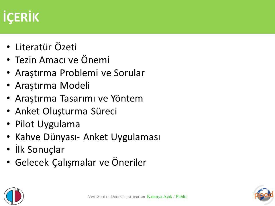 TEZİN AMACI VE ÖNEMİ Veri Sınıfı / Data Classification Kamuya Açık / Public Amaç: Yabancı tüketicilerin Türk hizmet işletmelerine yönelik sahip olduğu hizmet kalitesi algısında Türkiye imajının etkisini ortaya koymaktır.