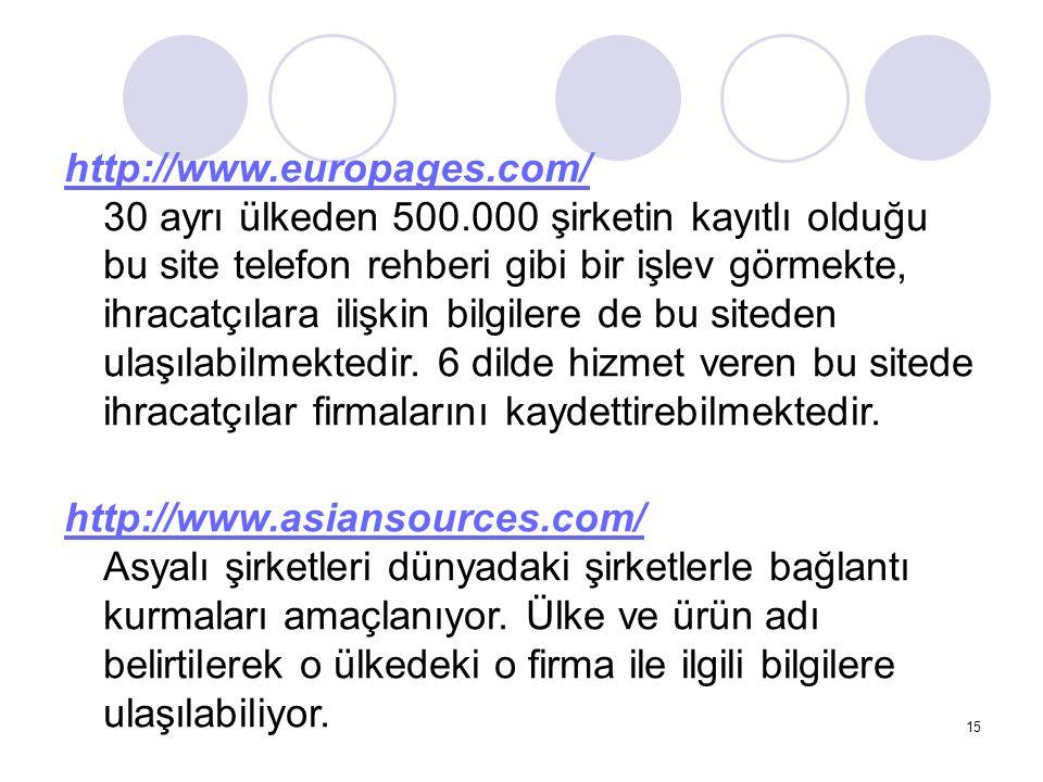 15 http://www.europages.com/ http://www.europages.com/ 30 ayrı ülkeden 500.000 şirketin kayıtlı olduğu bu site telefon rehberi gibi bir işlev görmekte