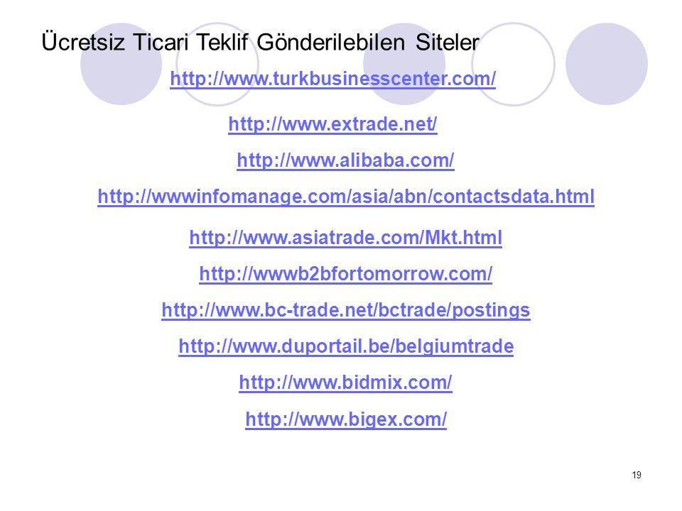 19 Ücretsiz Ticari Teklif Gönderilebilen Siteler http://www.turkbusinesscenter.com/ http://www.extrade.net/ http://www.alibaba.com/ http://wwwinfomana