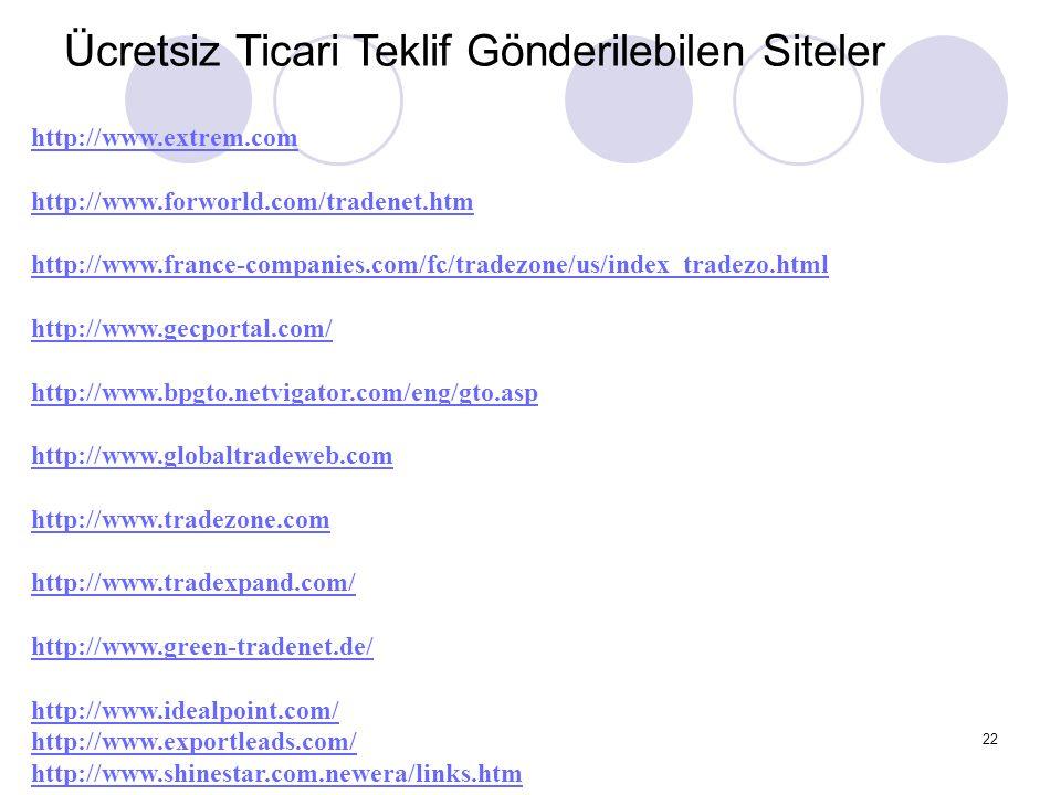 22 Ücretsiz Ticari Teklif Gönderilebilen Siteler http://www.extrem.com http://www.forworld.com/tradenet.htm http://www.france-companies.com/fc/tradezo