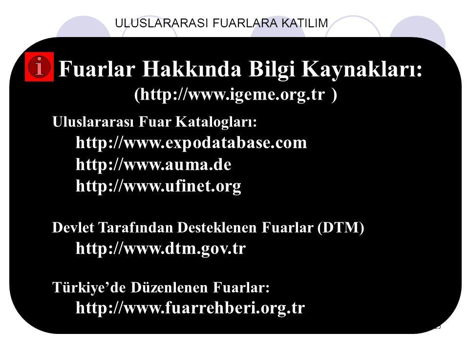 23 ULUSLARARASI FUARLARA KATILIM Fuarlar Hakkında Bilgi Kaynakları: (http://www.igeme.org.tr ) Uluslararası Fuar Katalogları: http://www.expodatabase.