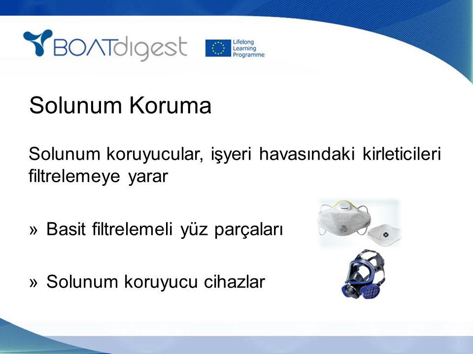 Solunum Koruma Solunum koruyucular, işyeri havasındaki kirleticileri filtrelemeye yarar »Basit filtrelemeli yüz parçaları »Solunum koruyucu cihazlar