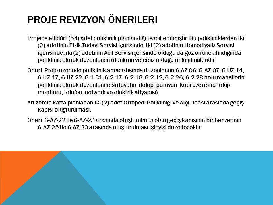 PROJE REVIZYON ÖNERILERI Projede ellidört (54) adet poliklinik planlandığı tespit edilmiştir.