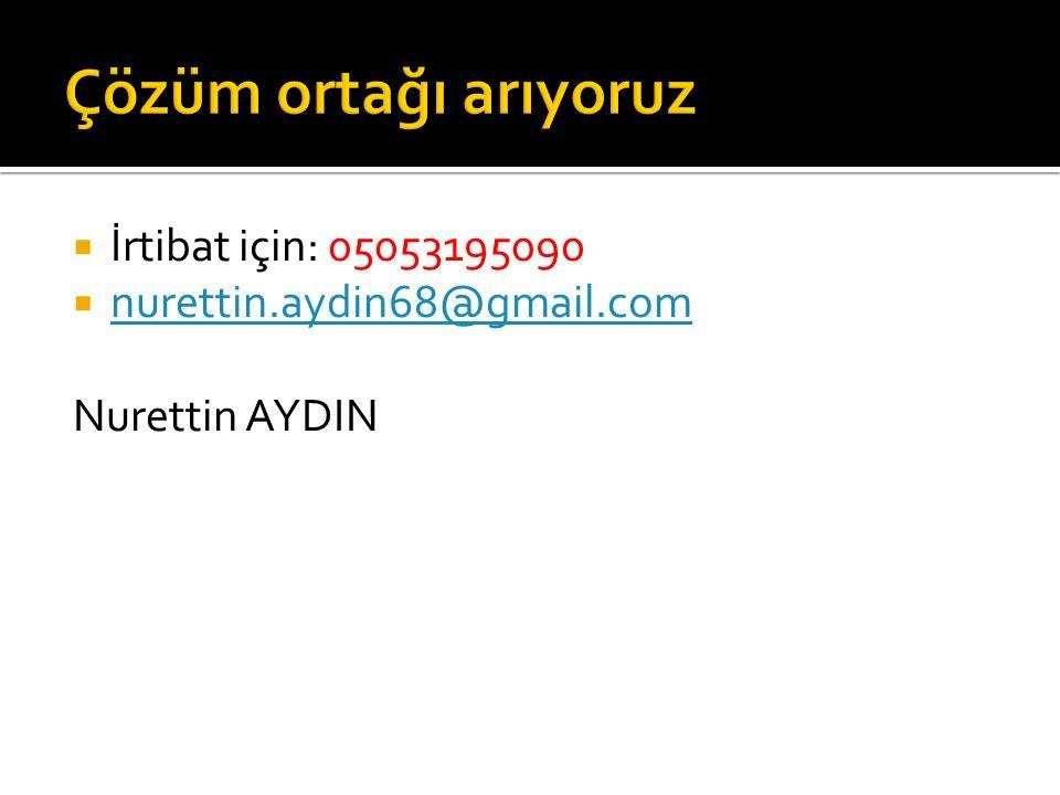  İrtibat için: 05053195090  nurettin.aydin68@gmail.com nurettin.aydin68@gmail.com Nurettin AYDIN