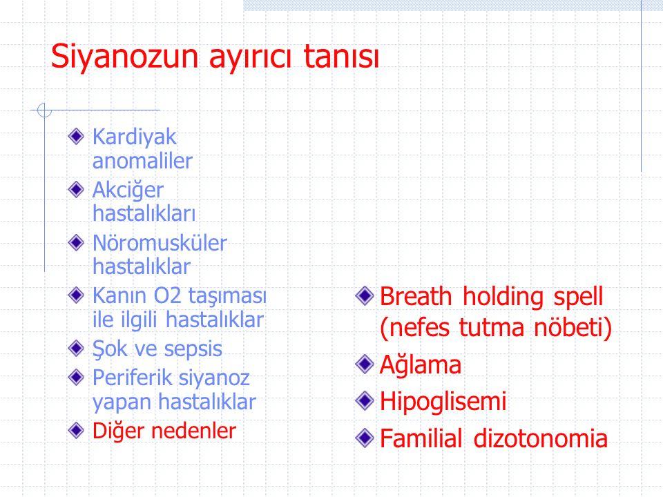 Siyanozun ayırıcı tanısı Kardiyak anomaliler Akciğer hastalıkları Nöromusküler hastalıklar Kanın O2 taşıması ile ilgili hastalıklar Şok ve sepsis Peri