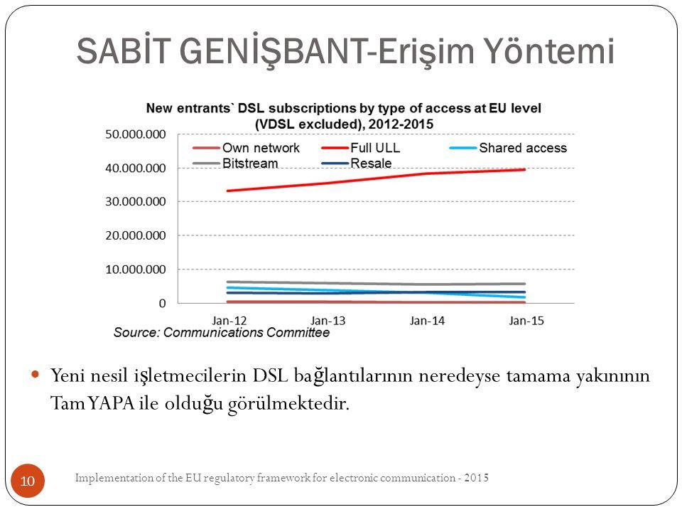 Yeni nesil i ş letmecilerin DSL ba ğ lantılarının neredeyse tamama yakınının Tam YAPA ile oldu ğ u görülmektedir.