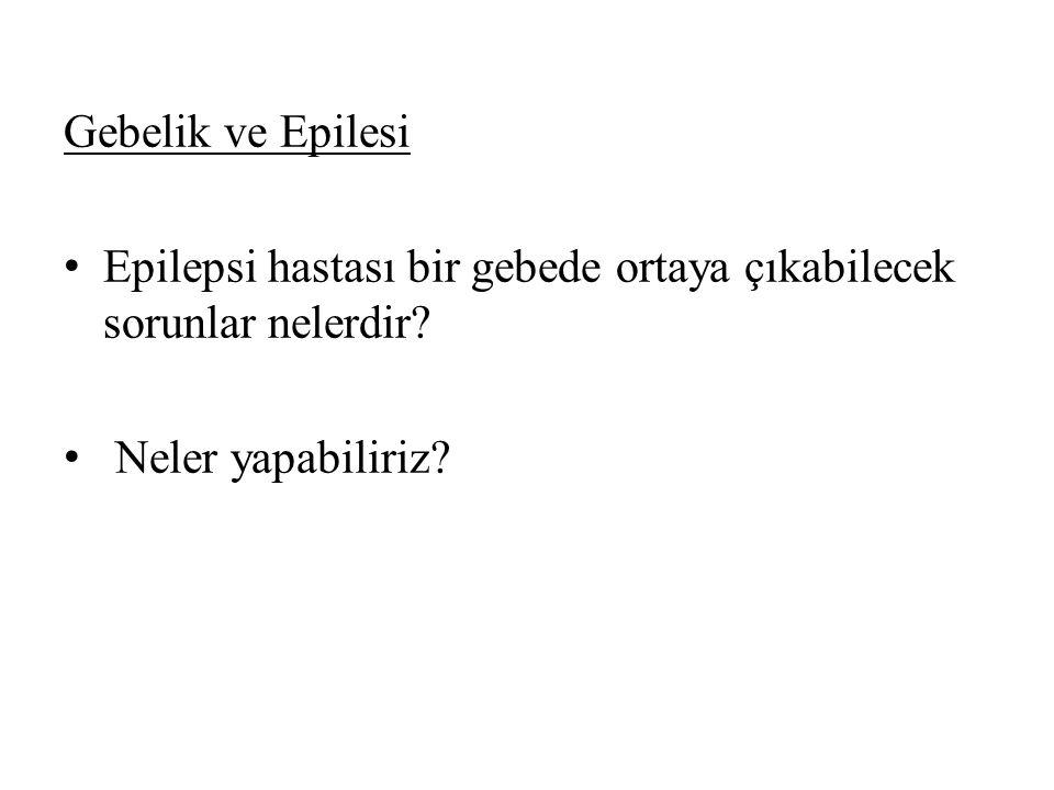 Gebelik ve Epilesi Epilepsi hastası bir gebede ortaya çıkabilecek sorunlar nelerdir.