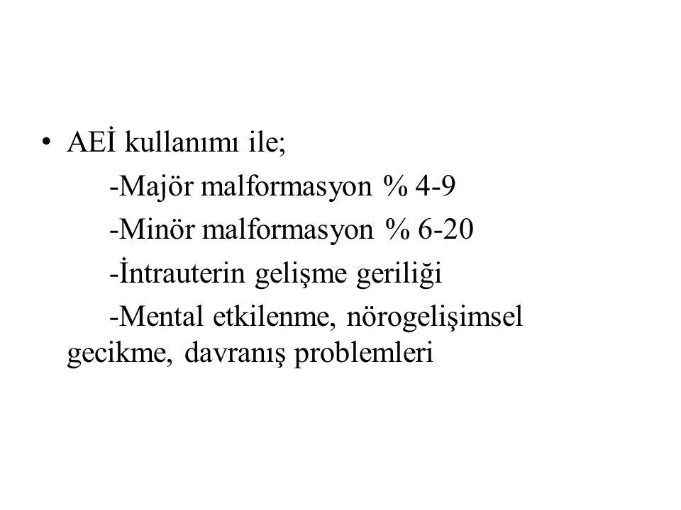 AEİ kullanımı ile; -Majör malformasyon % 4-9 -Minör malformasyon % 6-20 -İntrauterin gelişme geriliği -Mental etkilenme, nörogelişimsel gecikme, davranış problemleri