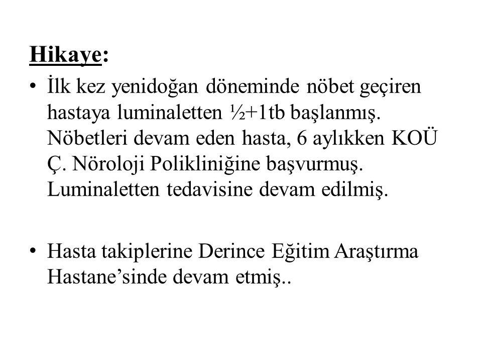 Hikaye: İlk kez yenidoğan döneminde nöbet geçiren hastaya luminaletten ½+1tb başlanmış.