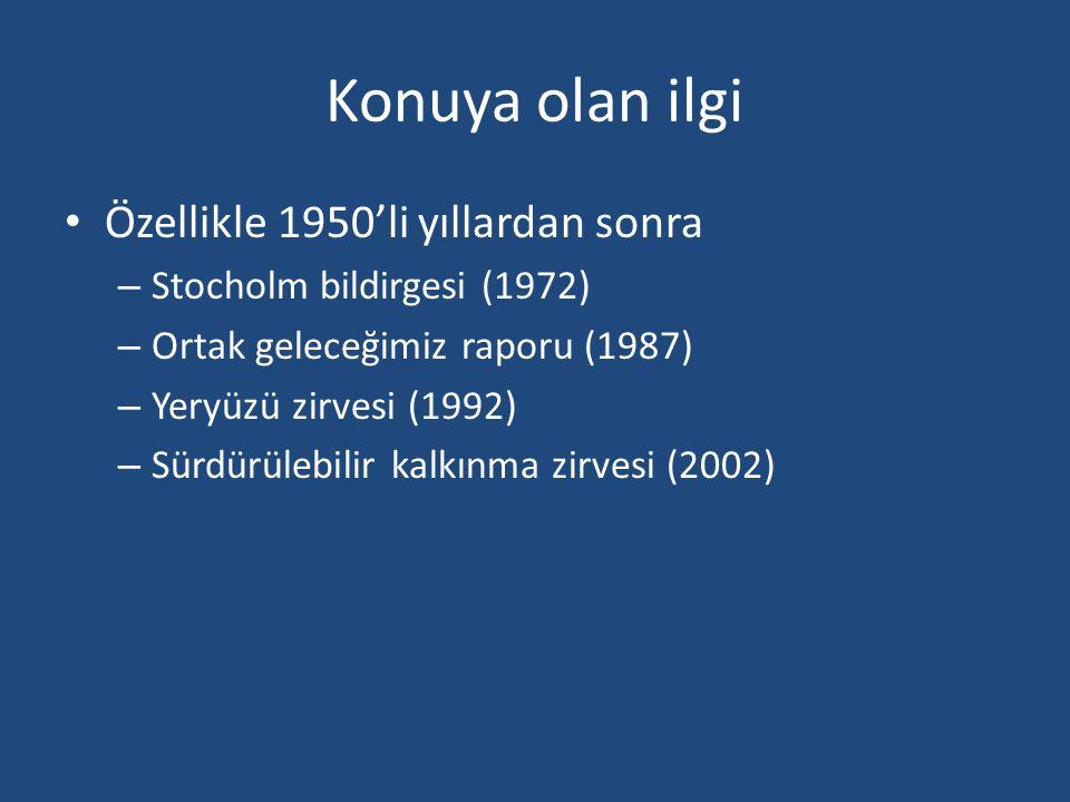 Konuya olan ilgi Özellikle 1950'li yıllardan sonra – Stocholm bildirgesi (1972) – Ortak geleceğimiz raporu (1987) – Yeryüzü zirvesi (1992) – Sürdürülebilir kalkınma zirvesi (2002)
