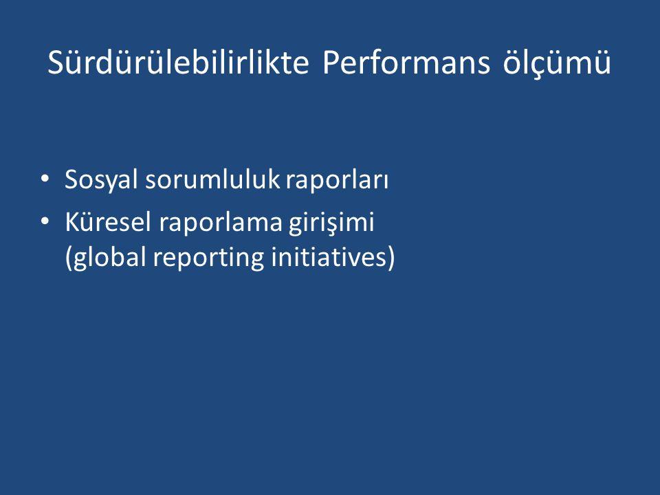 Sürdürülebilirlikte Performans ölçümü Sosyal sorumluluk raporları Küresel raporlama girişimi (global reporting initiatives)