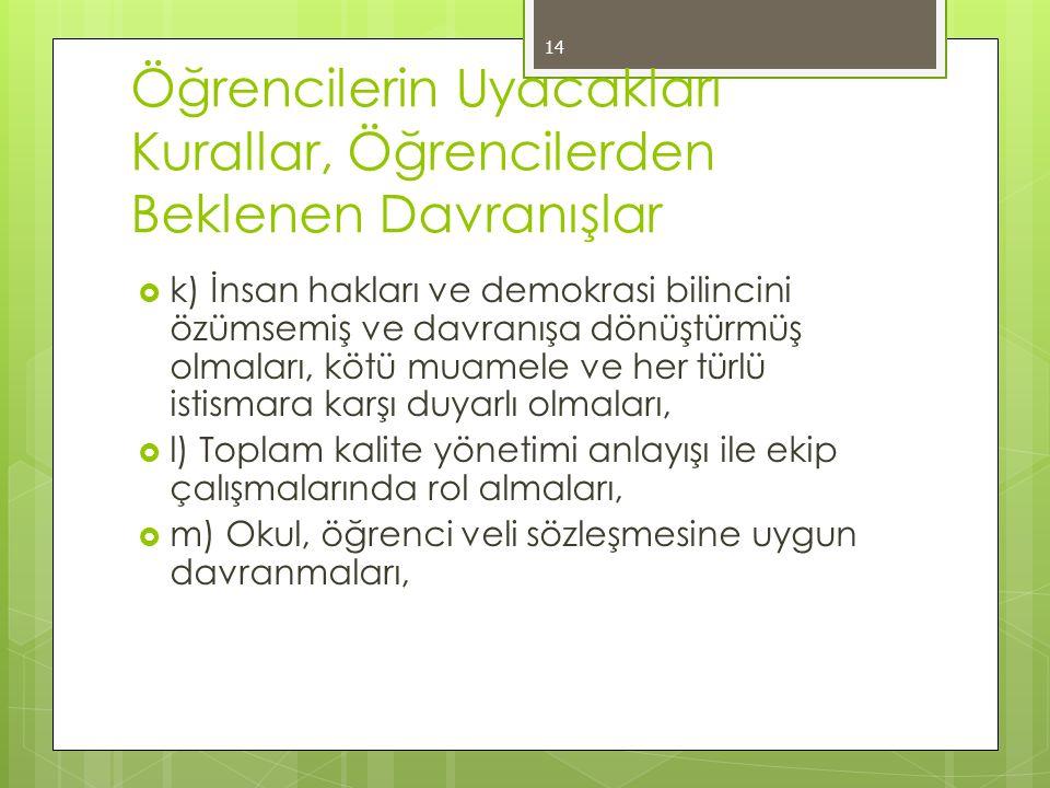 Öğrencilerin Uyacakları Kurallar, Öğrencilerden Beklenen Davranışlar  k) İnsan hakları ve demokrasi bilincini özümsemiş ve davranışa dönüştürmüş olma