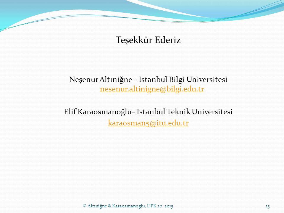 Teşekkür Ederiz Neşenur Altıniğne – Istanbul Bilgi Universitesi nesenur.altinigne@bilgi.edu.tr nesenur.altinigne@bilgi.edu.tr Elif Karaosmanoğlu– Ista