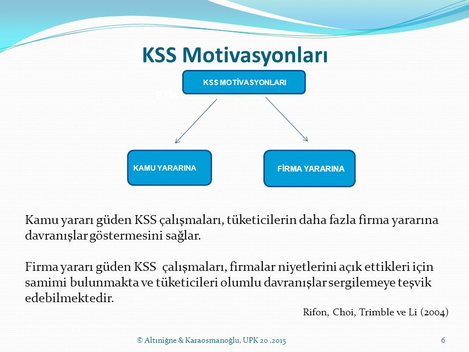 KSS Motivasyonları 6© Altıniğne & Karaosmanoğlu, UPK 20,2015 ETİK KURUMSAL KİMLİK KSS MOTİVASYONLARI KAMU YARARINA FİRMA YARARINA Kamu yararı güden KS