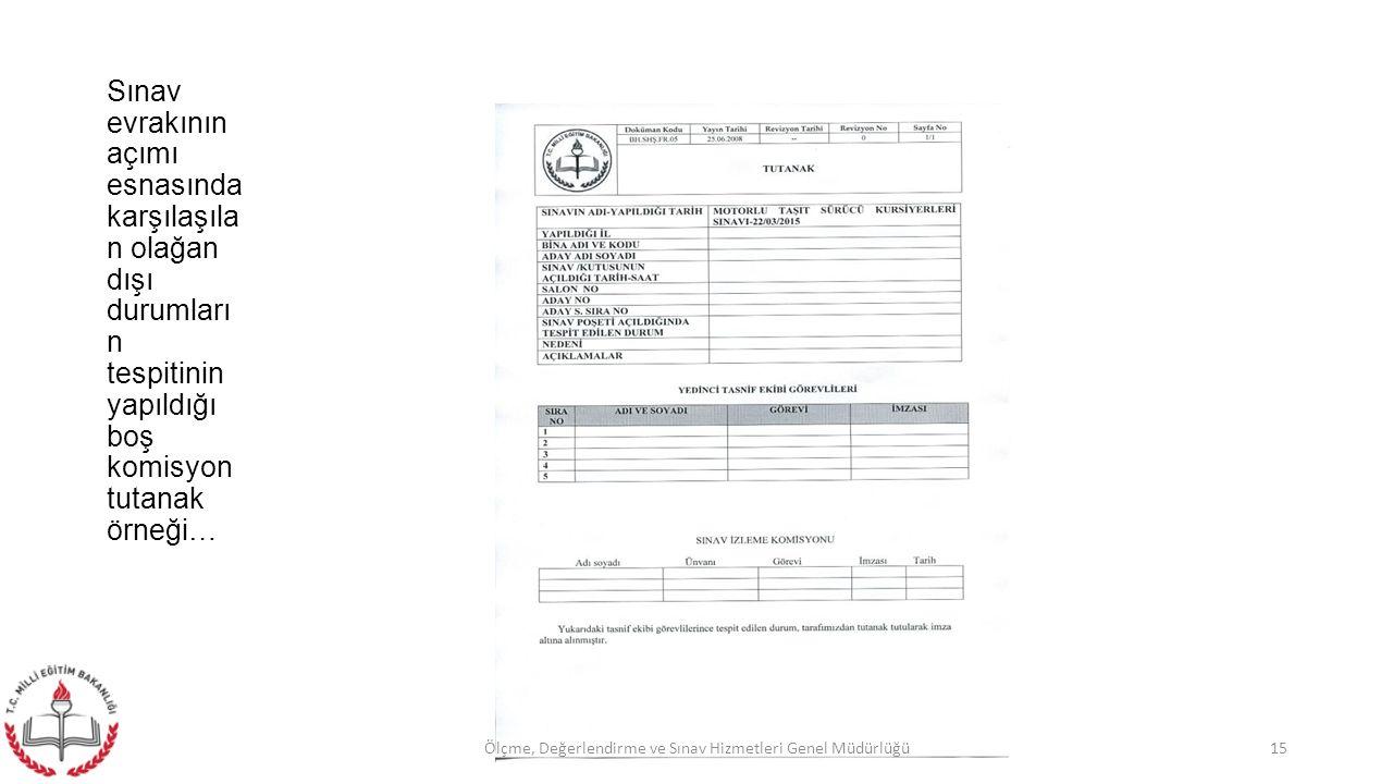Sınav evrakının açımı esnasında karşılaşıla n olağan dışı durumları n tespitinin yapıldığı boş komisyon tutanak örneği… 15Ölçme, Değerlendirme ve Sınav Hizmetleri Genel Müdürlüğü