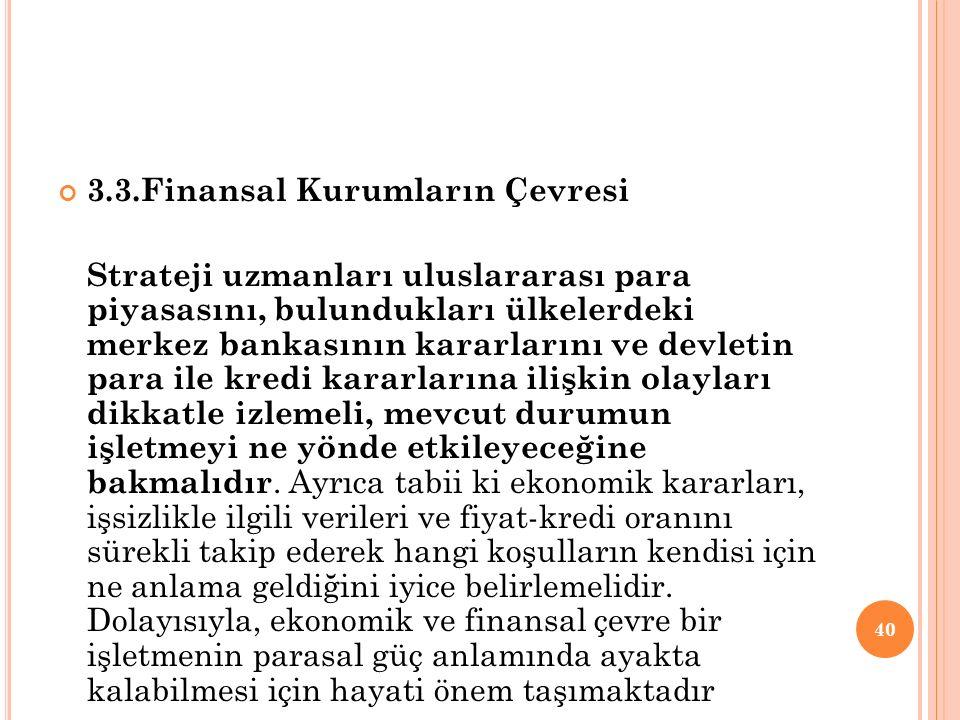 3.3.Finansal Kurumların Çevresi Strateji uzmanları uluslararası para piyasasını, bulundukları ülkelerdeki merkez bankasının kararlarını ve devletin pa