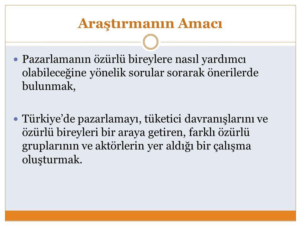 Araştırmanın Amacı Pazarlamanın özürlü bireylere nasıl yardımcı olabileceğine yönelik sorular sorarak önerilerde bulunmak, Türkiye'de pazarlamayı, tük