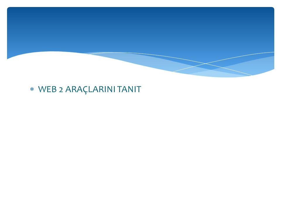  WEB 2 ARAÇLARINI TANIT