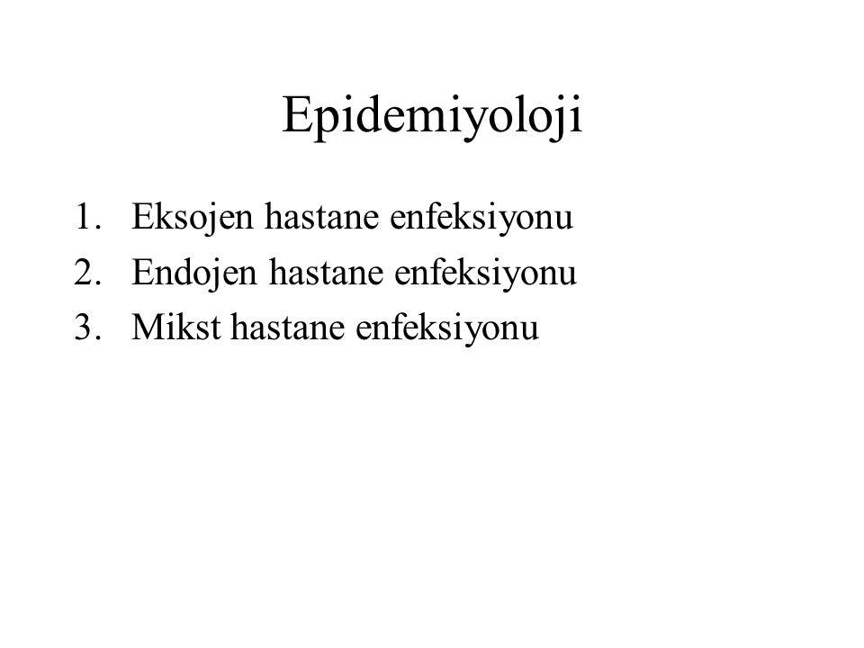 Epidemiyoloji 1.Eksojen hastane enfeksiyonu 2.Endojen hastane enfeksiyonu 3.Mikst hastane enfeksiyonu