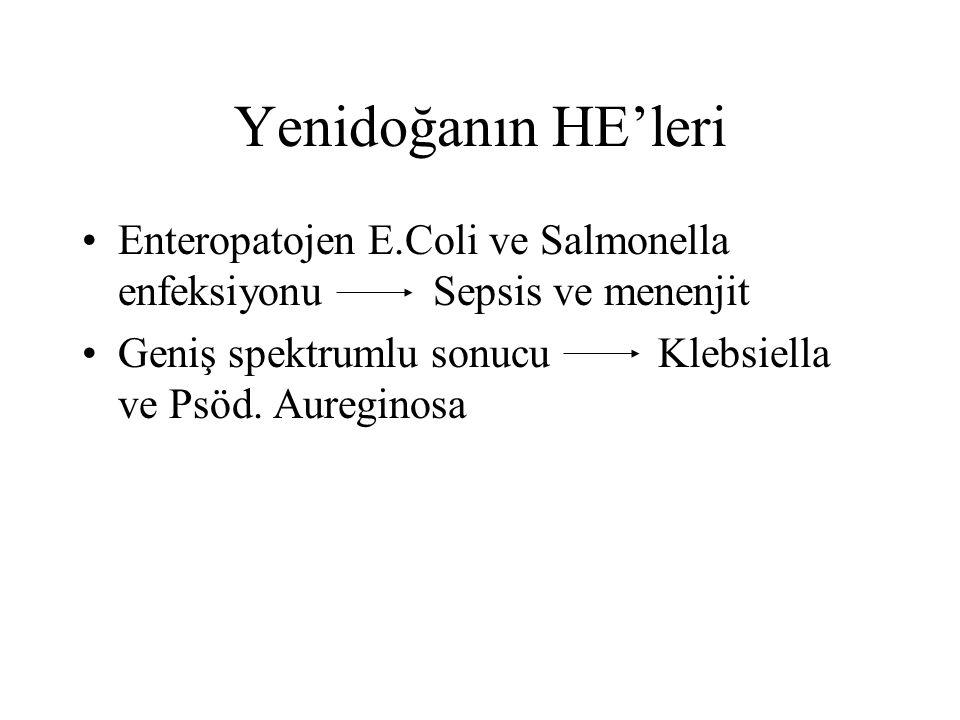 Yenidoğanın HE'leri Enteropatojen E.Coli ve Salmonella enfeksiyonu Sepsis ve menenjit Geniş spektrumlu sonucuKlebsiella ve Psöd. Aureginosa