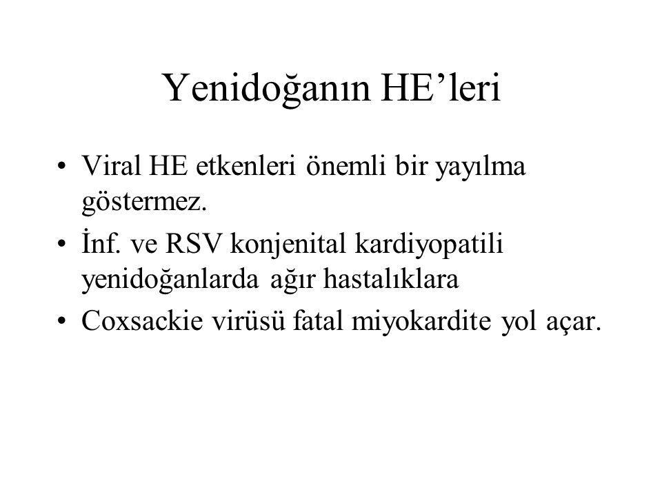 Yenidoğanın HE'leri Viral HE etkenleri önemli bir yayılma göstermez. İnf. ve RSV konjenital kardiyopatili yenidoğanlarda ağır hastalıklara Coxsackie v