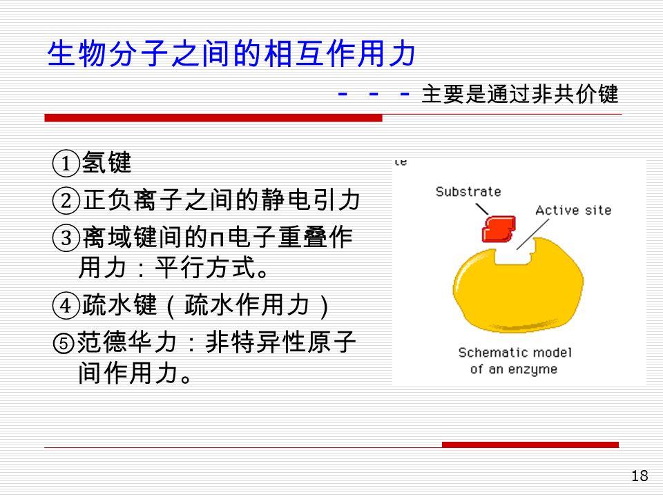 18 生物分子之间的相互作用力 --- 主要是通过非共价键 ①氢键 ②正负离子之间的静电引力 ③离域键间的 π 电子重叠作 用力:平行方式。 ④疏水键(疏水作用力) ⑤范德华力:非特异性原子 间作用力。