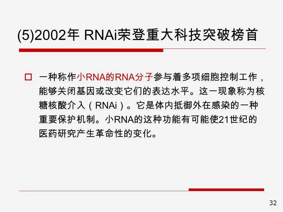 32 (5)2002 年 RNAi 荣登重大科技突破榜首  一种称作小 RNA 的 RNA 分子参与着多项细胞控制工作, 能够关闭基因或改变它们的表达水平。这一现象称为核 糖核酸介入( RNAi )。它是体内抵御外在感染的一种 重要保护机制。小 RNA 的这种功能有可能使 21 世纪的 医药研究产