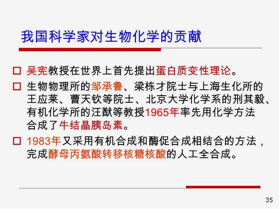 35 我国科学家对生物化学的贡献  吴宪教授在世界上首先提出蛋白质变性理论。  生物物理所的邹承鲁、梁栋才院士与上海生化所的 王应莱、曹天钦等院士、北京大学化学系的刑其毅、 有机化学所的汪猷等教授 1965 年率先用化学方法 合成了牛结晶胰岛素。  1983 年又采用有机合成和酶促合成相结合的方法, 完成酵母丙氨酸转移核糖核酸的人工全合成。