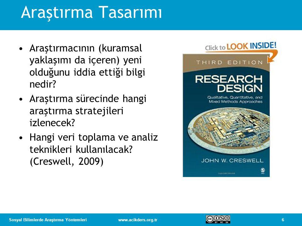 7Sosyal Bilimlerde Araştırma Yöntemleriwww.acikders.org.tr Araştırma Tasarımları Nitel Nicel Karma yöntemler Araştırma Yöntemleri Sorular Kuramsal bakış Veri toplama Veri analizi Yazma Seçme Araştırma Stratejileri Nitel stratejiler (ör., etnografik) Nicel stratejiler (ör., deneysel) Karma stratejiler (ör., sıralı) Kaynak: Creswell 2009, s.